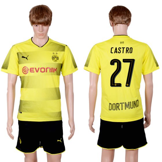 Men 2017-2018 club Dortmund home 27 yellow soccer jersey