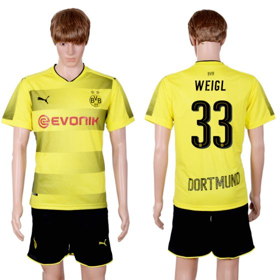 Men 2017-2018 club Dortmund home 33 yellow soccer jersey