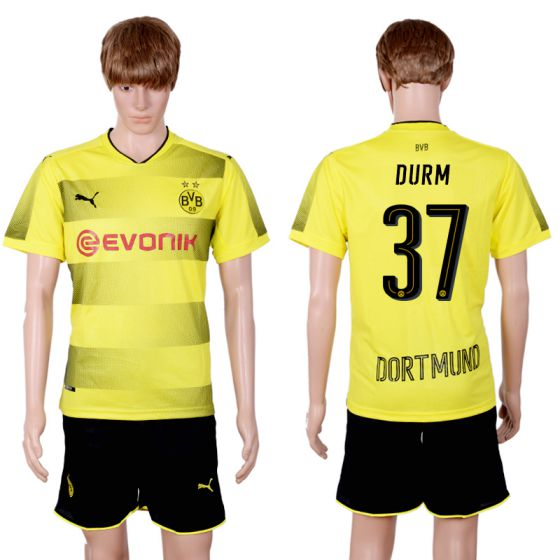 Men 2017-2018 club Dortmund home 37 yellow soccer jersey