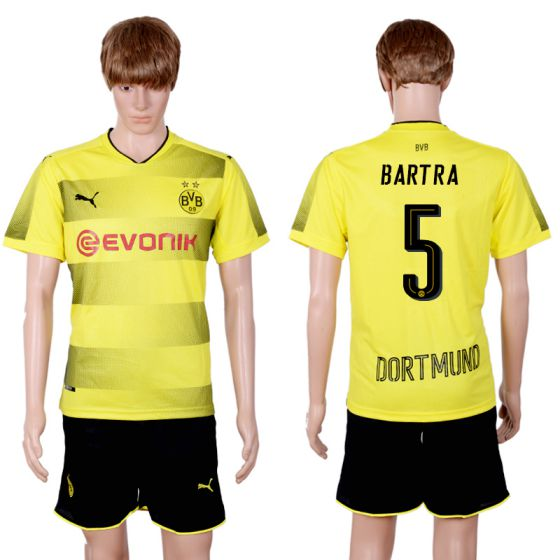 Men 2017-2018 club Dortmund home 5 yellow soccer jersey