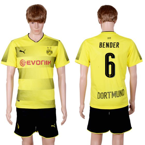 Men 2017-2018 club Dortmund home 6 yellow soccer jersey