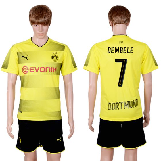 Men 2017-2018 club Dortmund home 7 yellow soccer jersey