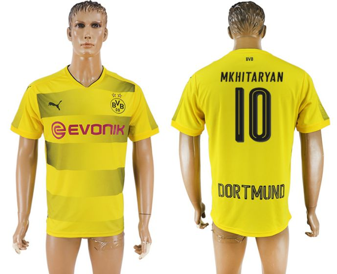 Men 2017-2018 club Dortmund home aaa version 10 yellow soccer jersey