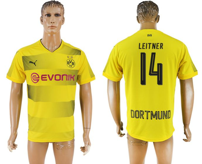 Men 2017-2018 club Dortmund home aaa version 14 yellow soccer jersey