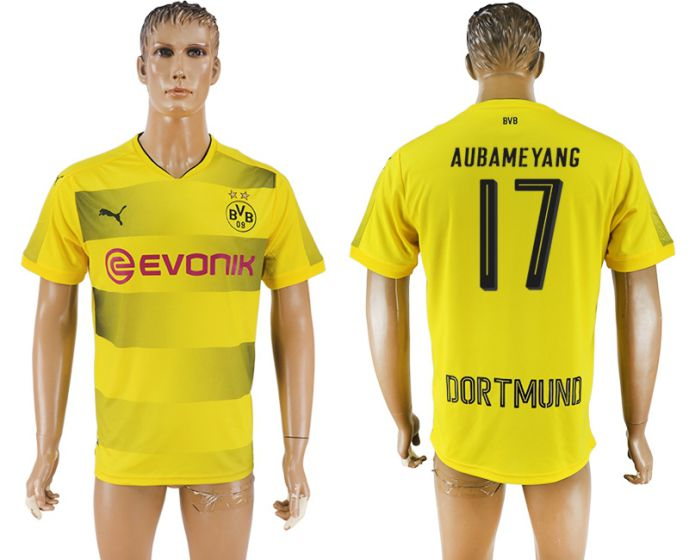 Men 2017-2018 club Dortmund home aaa version 17 yellow soccer jersey