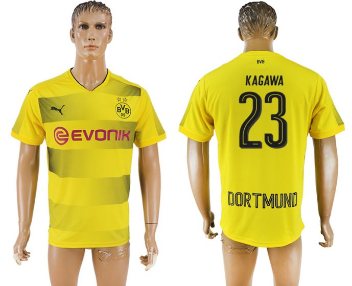 Men 2017-2018 club Dortmund home aaa version 23 yellow soccer jersey