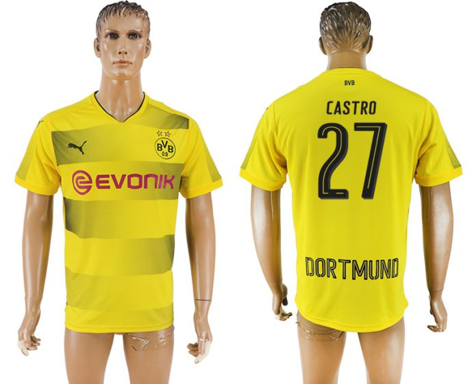 Men 2017-2018 club Dortmund home aaa version 27 yellow soccer jersey