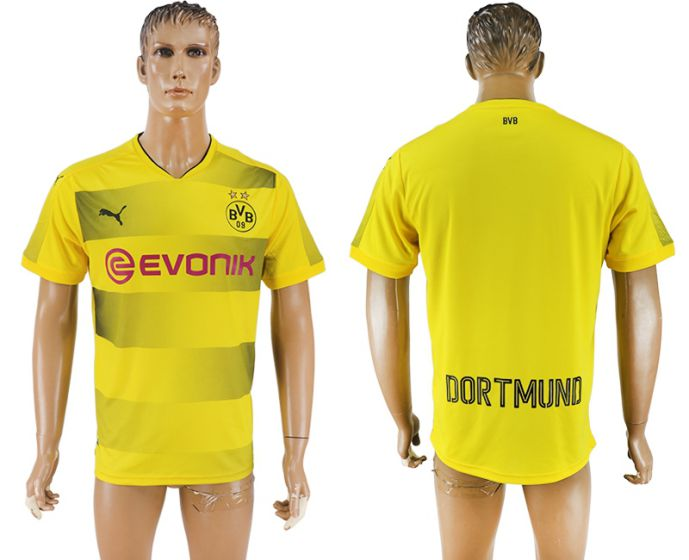 Men 2017-2018 club Dortmund home aaa version blank yellow soccer jersey