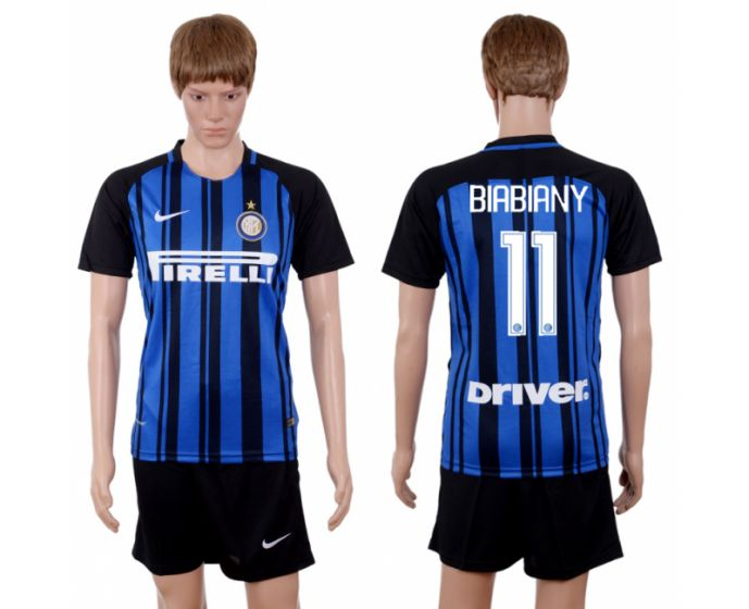 Men 2017-2018 club Inter milan home 11 blue soccer jersey