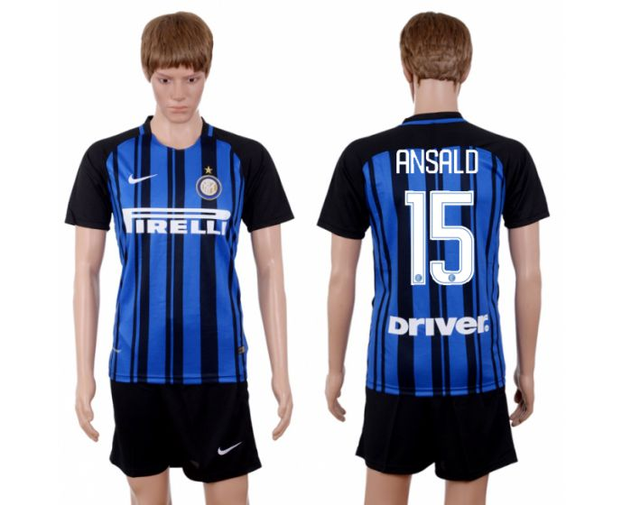 Men 2017-2018 club Inter milan home 15 blue soccer jersey