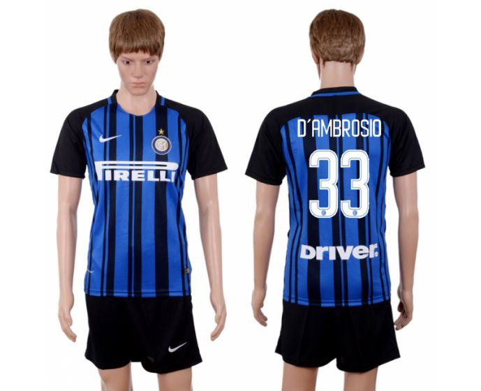 Men 2017-2018 club Inter milan home 33 blue soccer jersey