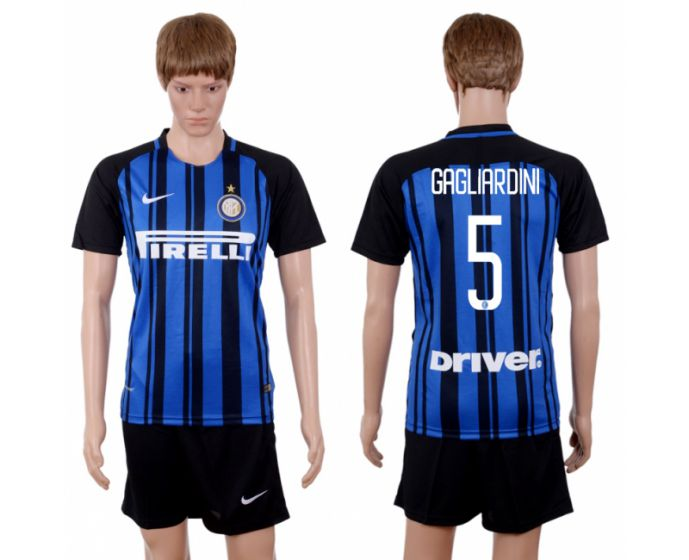 Men 2017-2018 club Inter milan home 5 blue soccer jersey