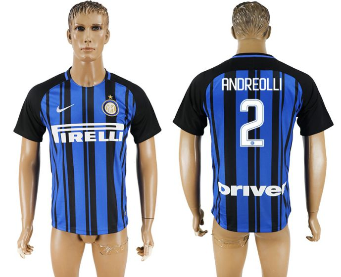 Men 2017-2018 club Inter milan home aaa version 2 blue soccer jersey