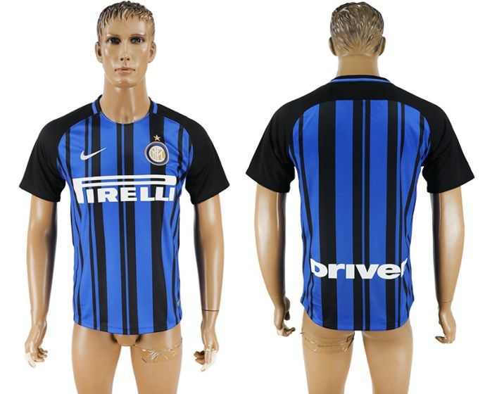 Men 2017-2018 club Inter milan home aaa version blank blue soccer jersey