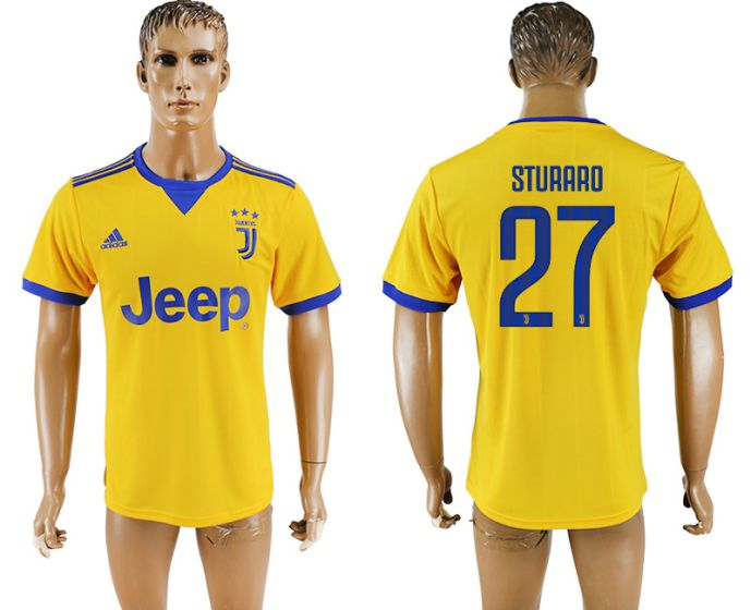 Men 2017-2018 club Juventus away aaa version 27 yellow soccer jersey