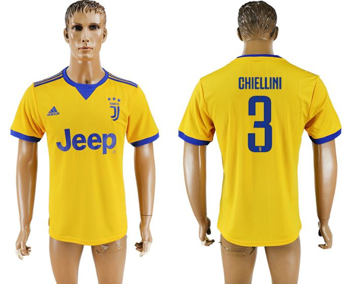 Men 2017-2018 club Juventus away aaa version 3 yellow soccer jersey
