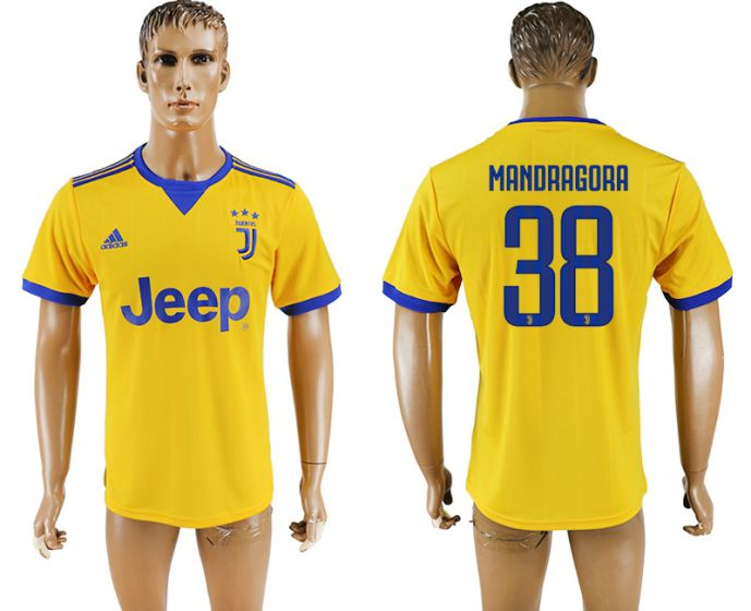 Men 2017-2018 club Juventus away aaa version 38 yellow soccer jersey
