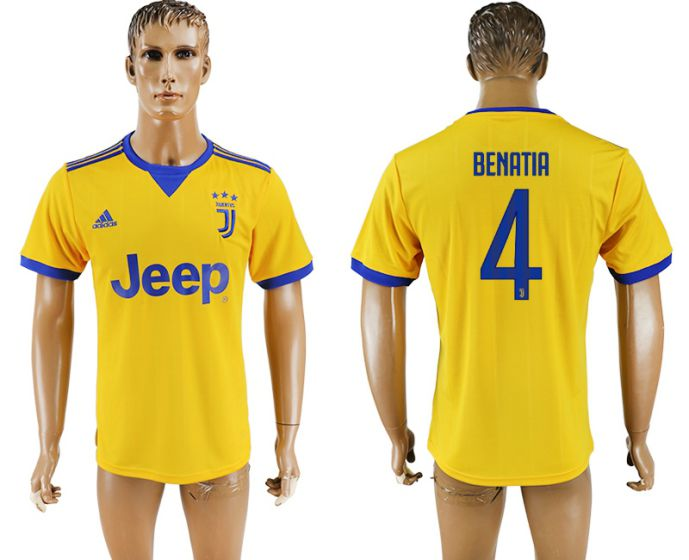 Men 2017-2018 club Juventus away aaa version 4 yellow soccer jersey
