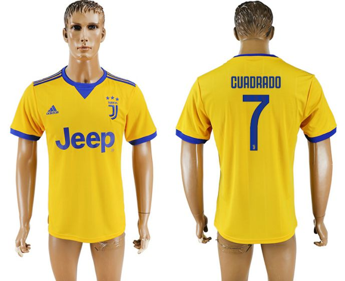 Men 2017-2018 club Juventus away aaa version 7 yellow soccer jersey