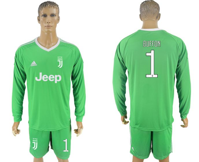Men 2017-2018 club Juventus green goalkeeper Long sleeve 1 soccer jersey
