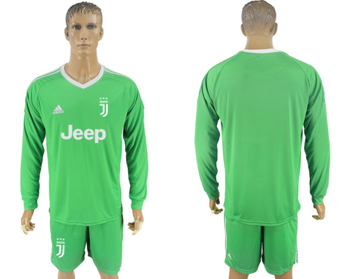 Men 2017-2018 club Juventus green goalkeeper Long sleeve soccer jersey