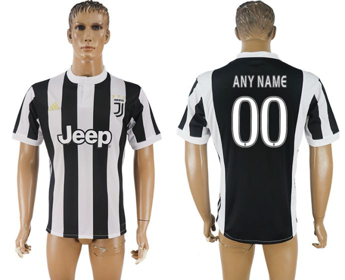 Men 2017-2018 club Juventus home aaa version customized black soccer jersey