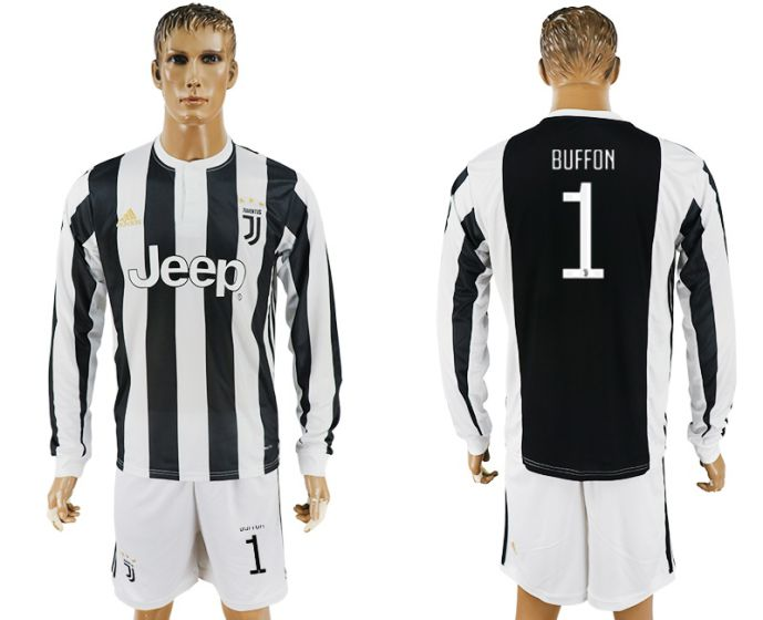 Men 2017-2018 club Juventus home long sleeves 1 soccer jersey