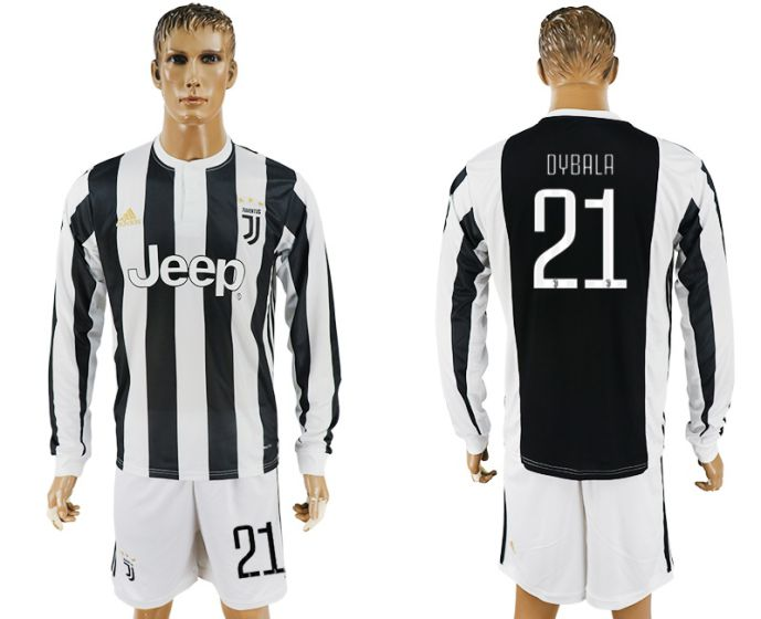 Men 2017-2018 club Juventus home long sleeves 21 soccer jersey