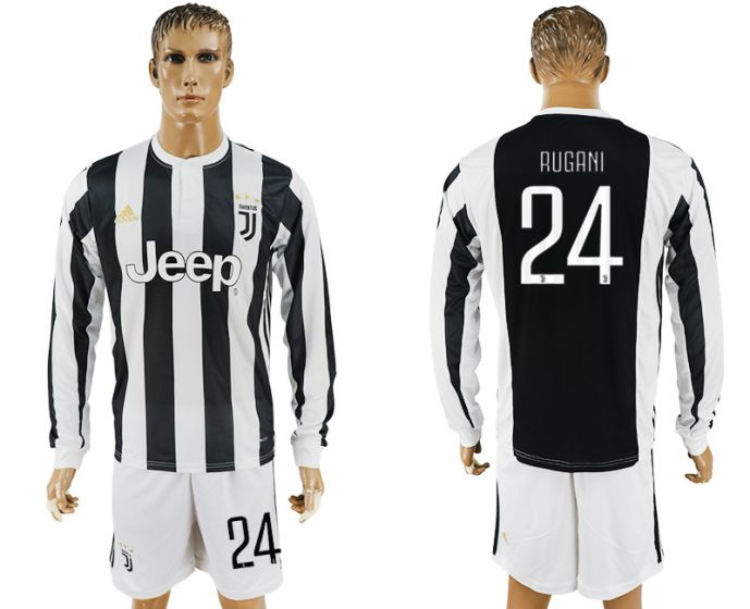 Men 2017-2018 club Juventus home long sleeves 24 soccer jersey