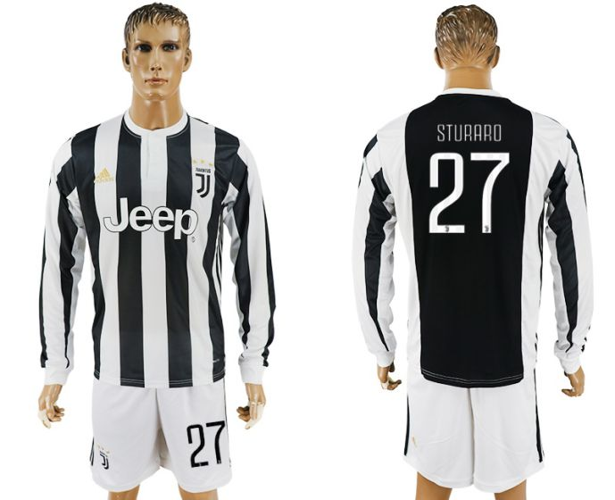 Men 2017-2018 club Juventus home long sleeves 27 soccer jersey