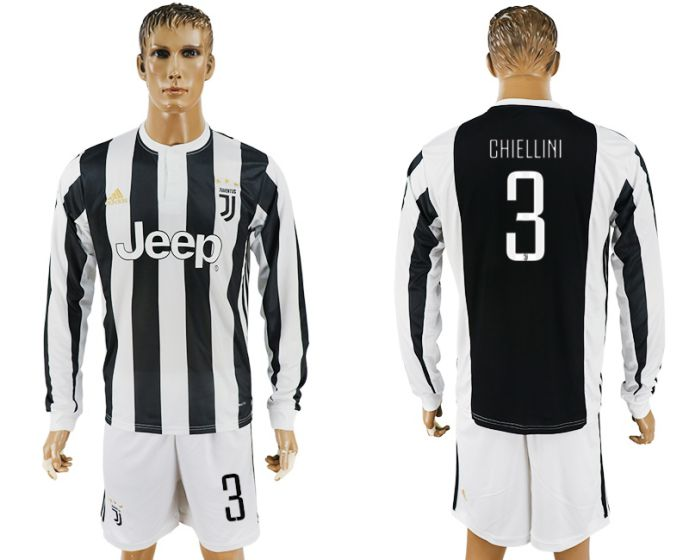 Men 2017-2018 club Juventus home long sleeves 3 soccer jersey