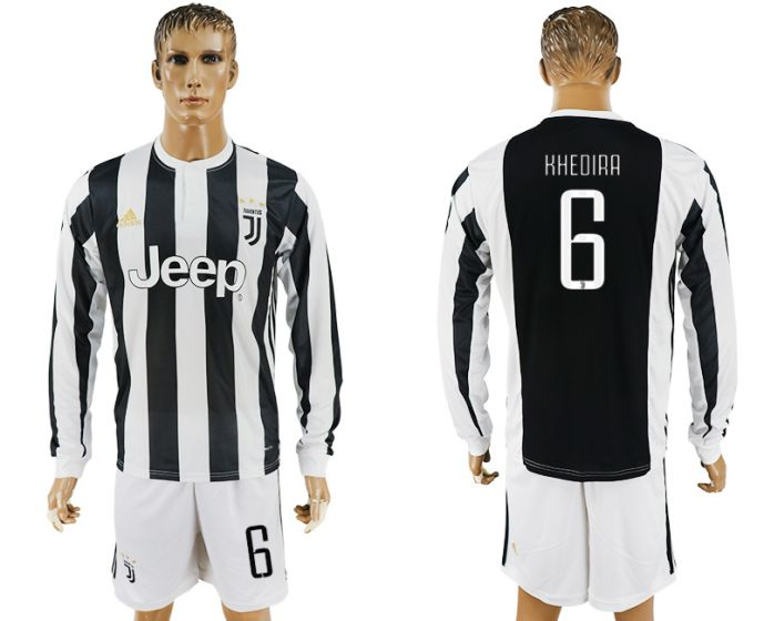 Men 2017-2018 club Juventus home long sleeves 6 soccer jersey