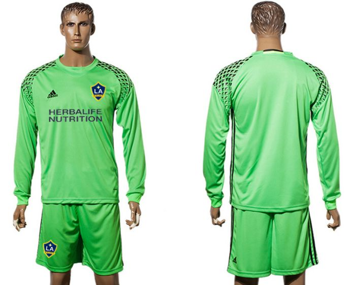 Men 2017-2018 club LA Galaxy green goalkeeper long sleeves soccer jersey