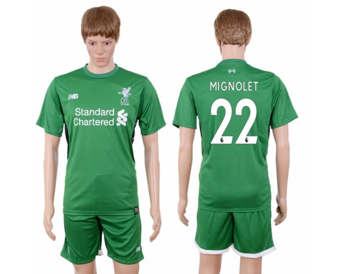 Men 2017-2018 club Liverpool goalkeeper 22 green soccer jersey