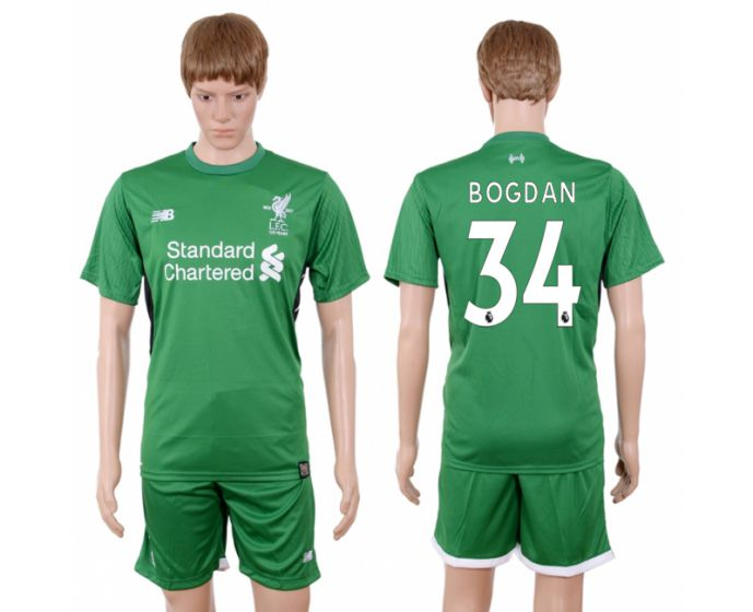 Men 2017-2018 club Liverpool goalkeeper 34 green soccer jersey
