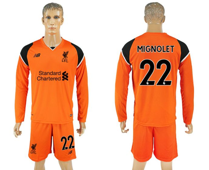 Men 2017-2018 club Liverpool goalkeeper orange long sleeves 22 soccer jersey