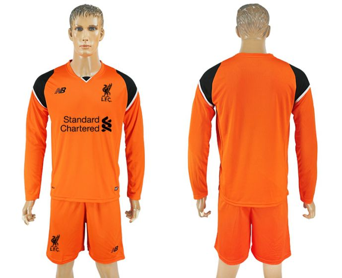Men 2017-2018 club Liverpool goalkeeper orange long sleeves soccer jersey