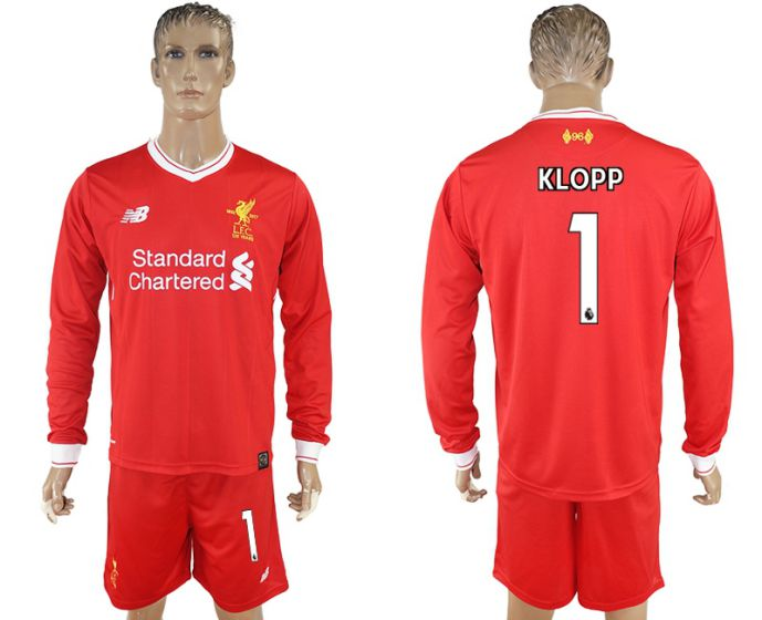 Men 2017-2018 club Liverpool home long sleeves 1 soccer jersey