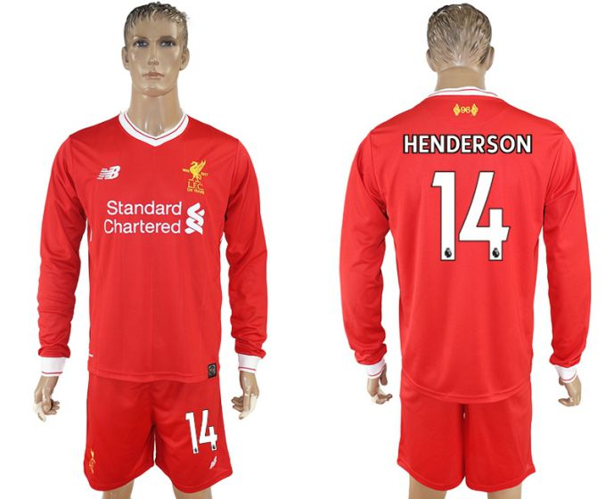 Men 2017-2018 club Liverpool home long sleeves 14 soccer jersey