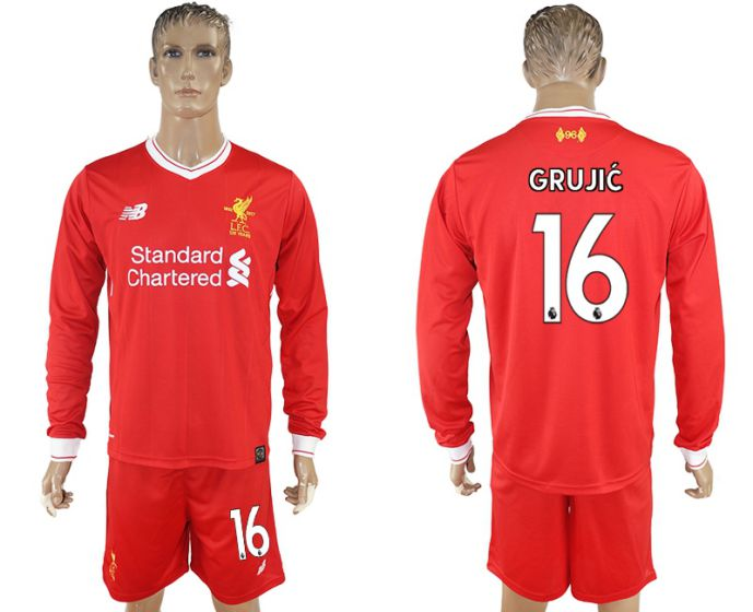 Men 2017-2018 club Liverpool home long sleeves 16 soccer jersey