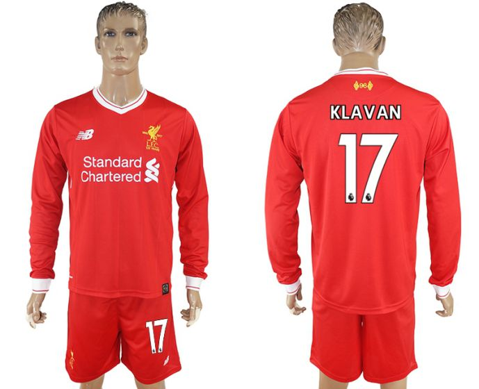 Men 2017-2018 club Liverpool home long sleeves 17 soccer jersey