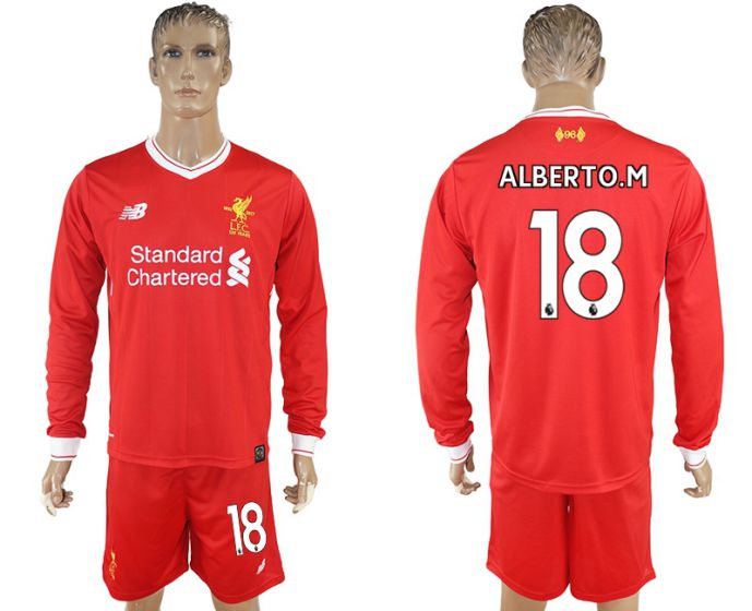 Men 2017-2018 club Liverpool home long sleeves 18 soccer jersey