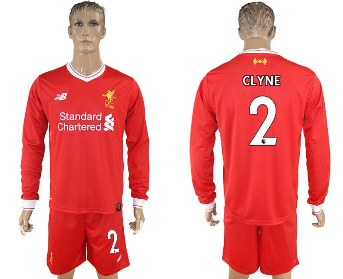 Men 2017-2018 club Liverpool home long sleeves 2 soccer jersey