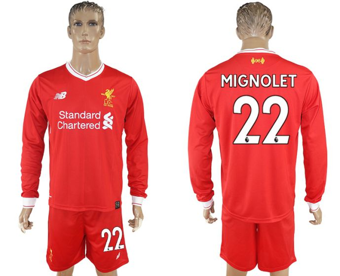 Men 2017-2018 club Liverpool home long sleeves 22 soccer jersey
