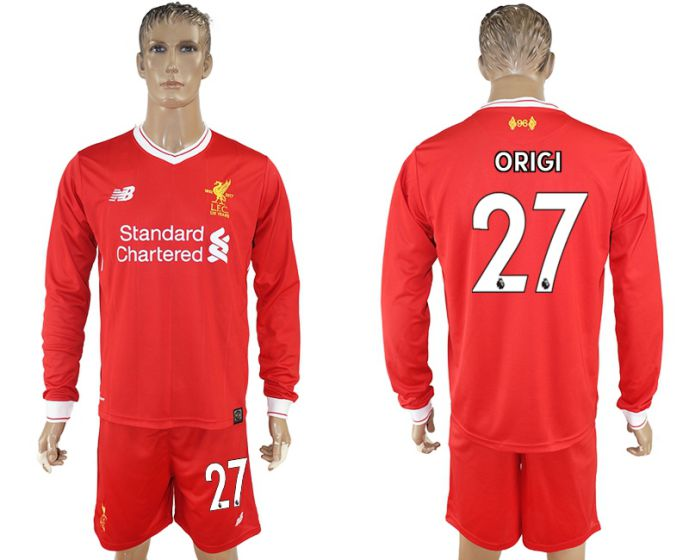 Men 2017-2018 club Liverpool home long sleeves 27 soccer jersey