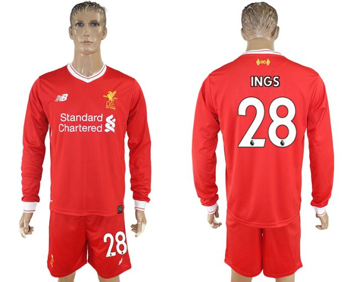 Men 2017-2018 club Liverpool home long sleeves 28 soccer jersey