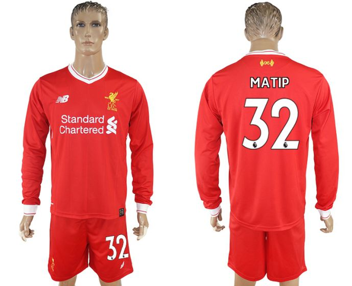 Men 2017-2018 club Liverpool home long sleeves 32 soccer jersey
