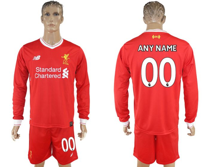 Men 2017-2018 club Liverpool home long sleeves customized soccer jersey