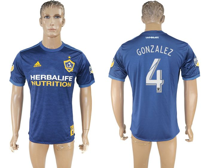 Men 2017-2018 club Los Angeles Galaxy away aaa version 4 blue soccer jersey
