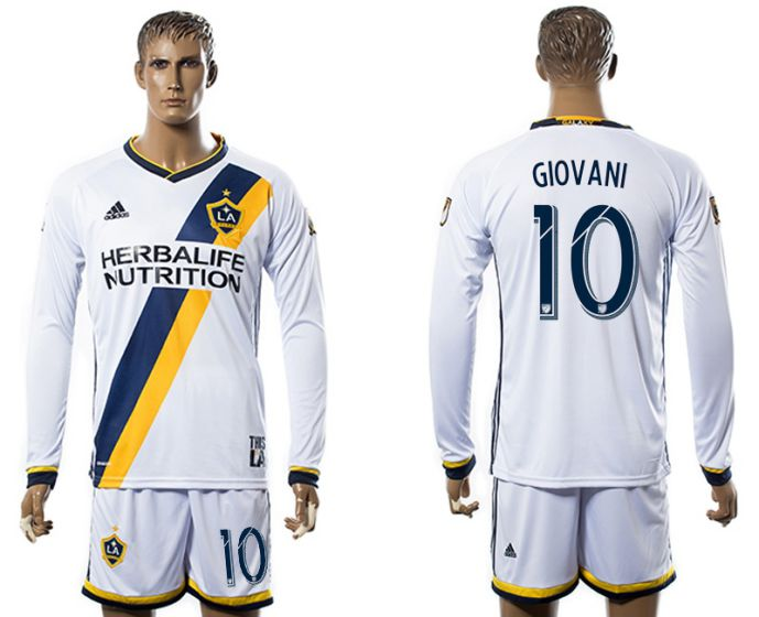 Men 2017-2018 club Los Angeles Galaxy home long sleeve 10 soccer jersey